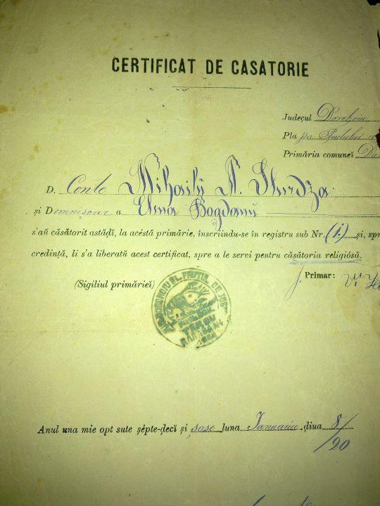 Certificat de casatorie 1876